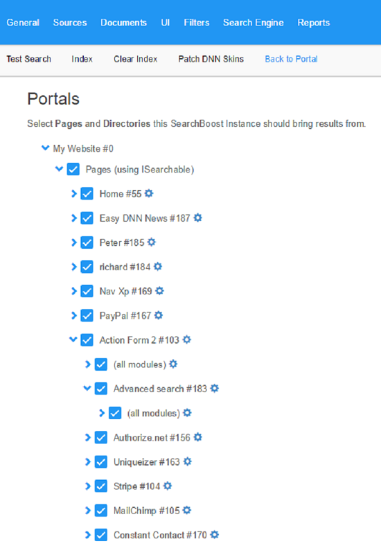 portals page and modules selection